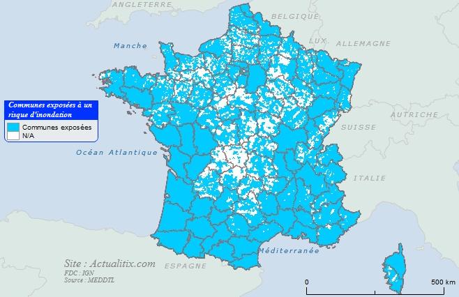 Carte des communes exposées aux innondations