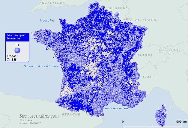 Carte du nombre d'arrêté pour innondation par communes