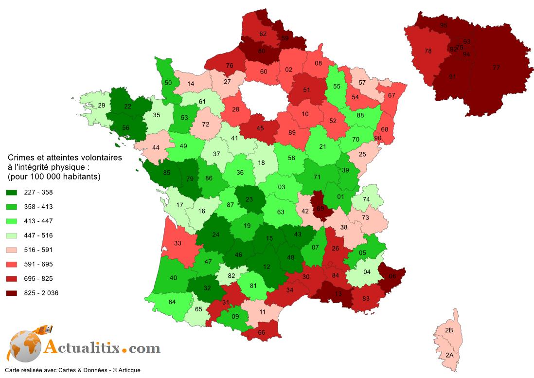 Carte des agressions, délits, crimes France