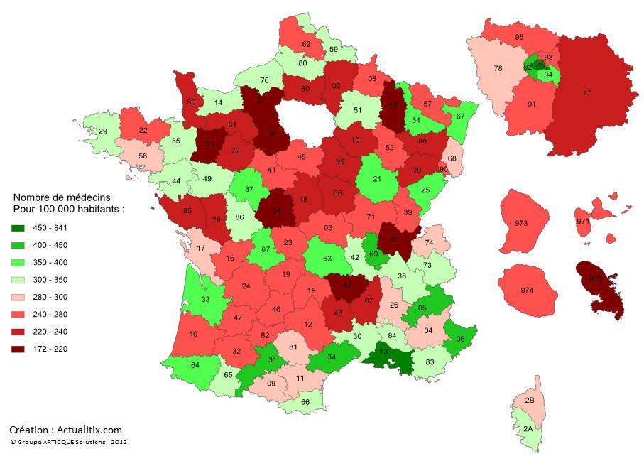 Carte du nombre de médecins par département