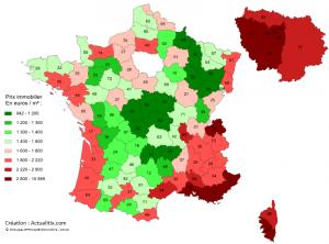 Carte prix immobilier par département