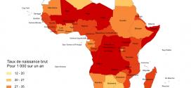 Carte taux de naissance en Afrique