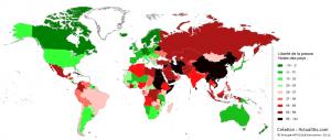 Carte de la liberté de la presse et des journalistes
