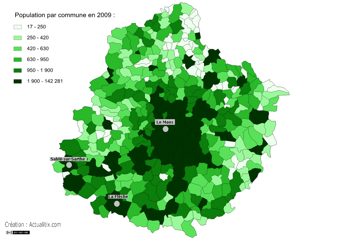 Répartition de la population en Sarthe