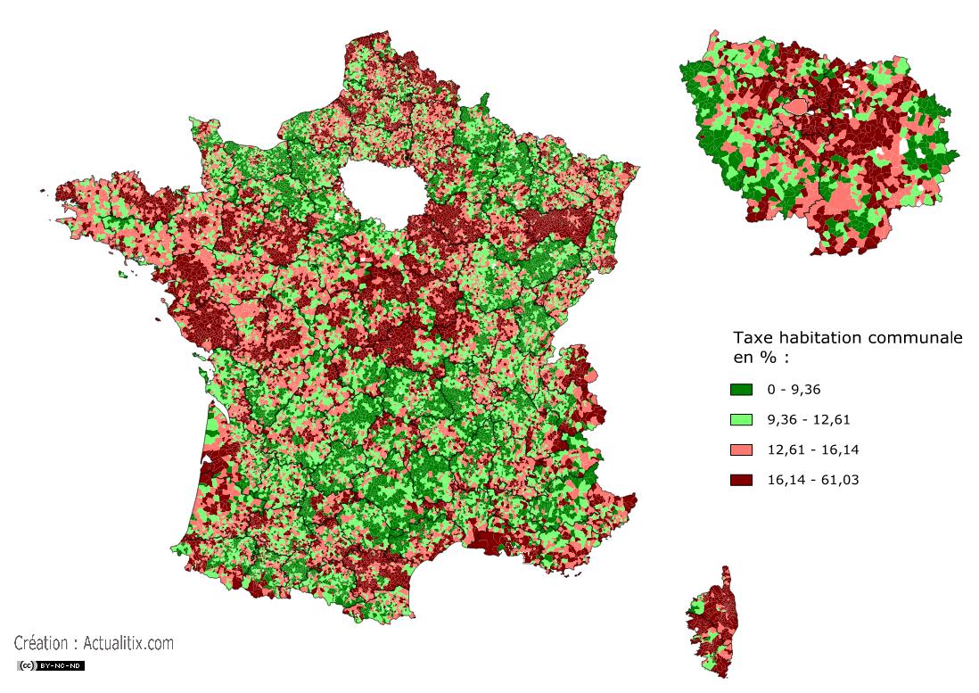Carte de la taxe d'habitation en France avec limite départementale