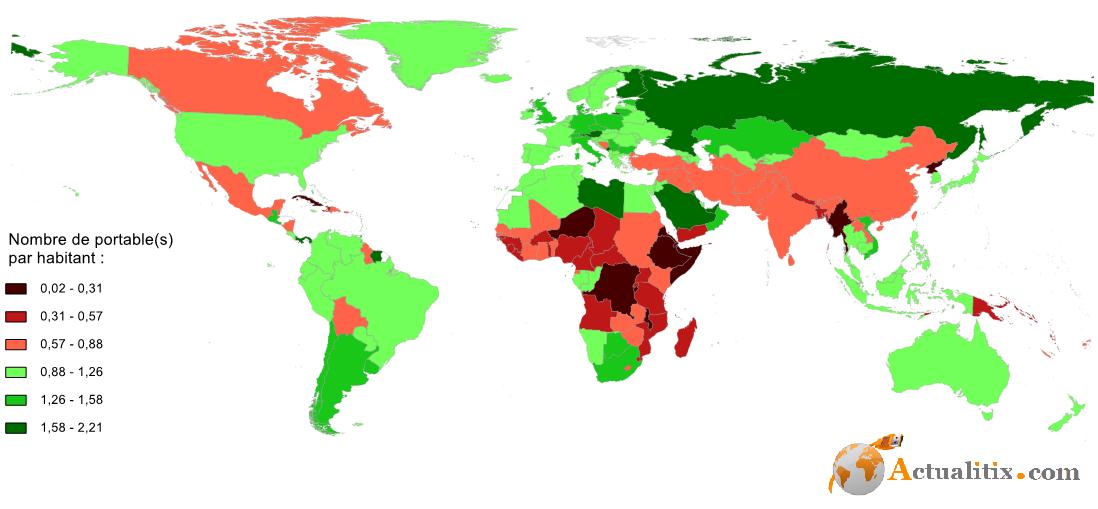Nombre de téléphones portable par habitant