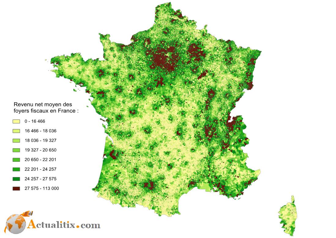 Carte des revenus en France