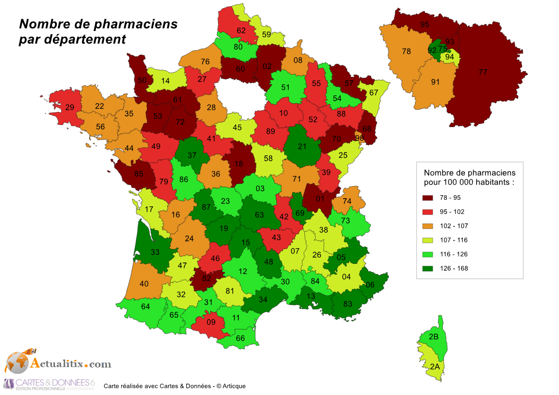 Nombre de pharmaciens en 2012