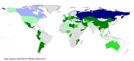 Pays exportateurs de gaz naturel en 2012