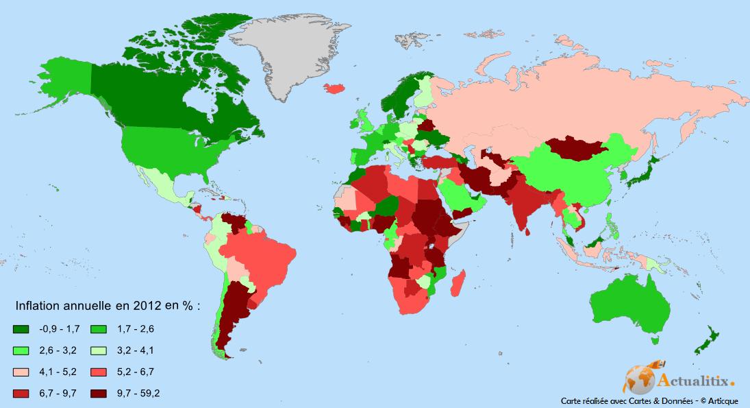 Carte de l'inflation dans le monde