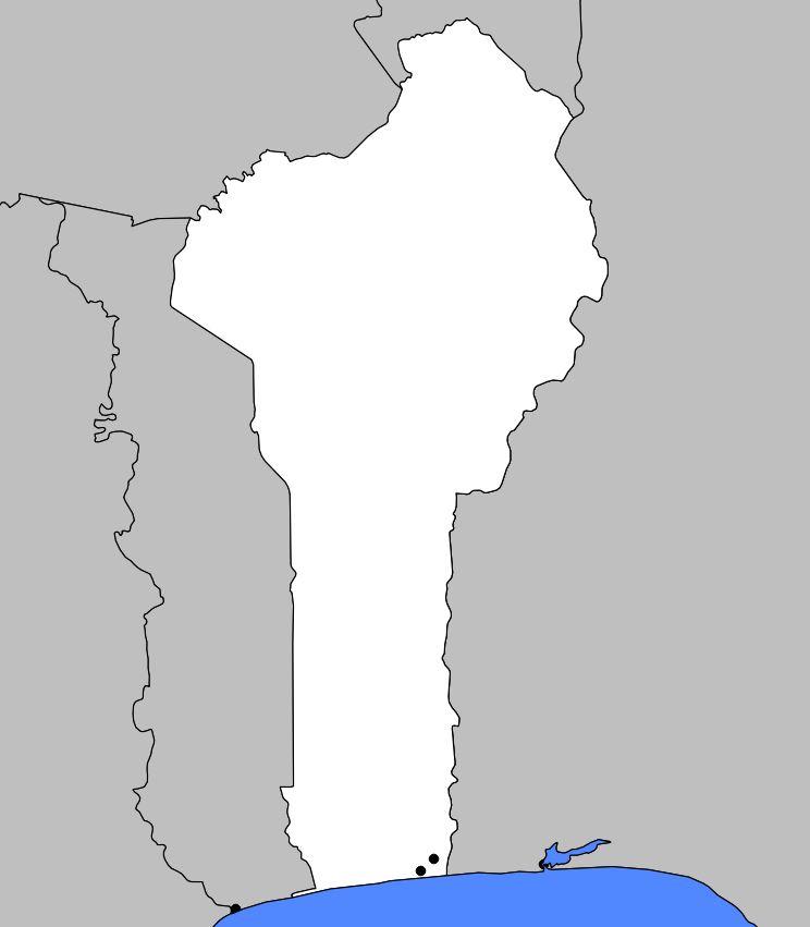 Carte vierge du Bénin