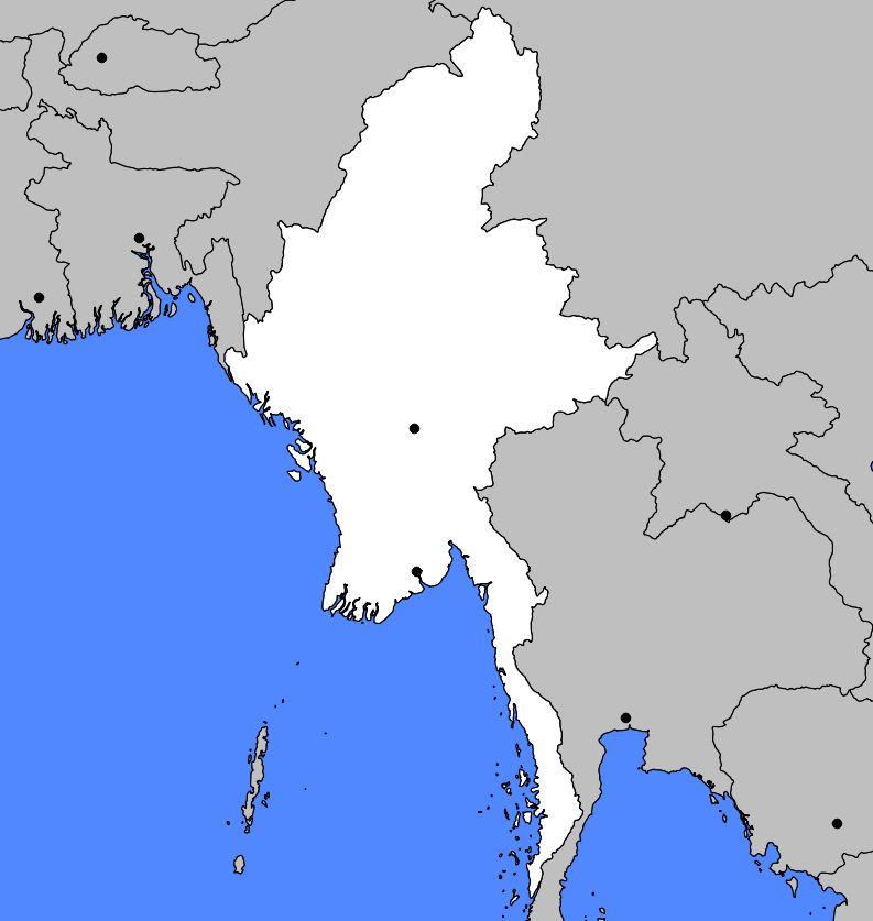 Carte vierge de la Birmanie