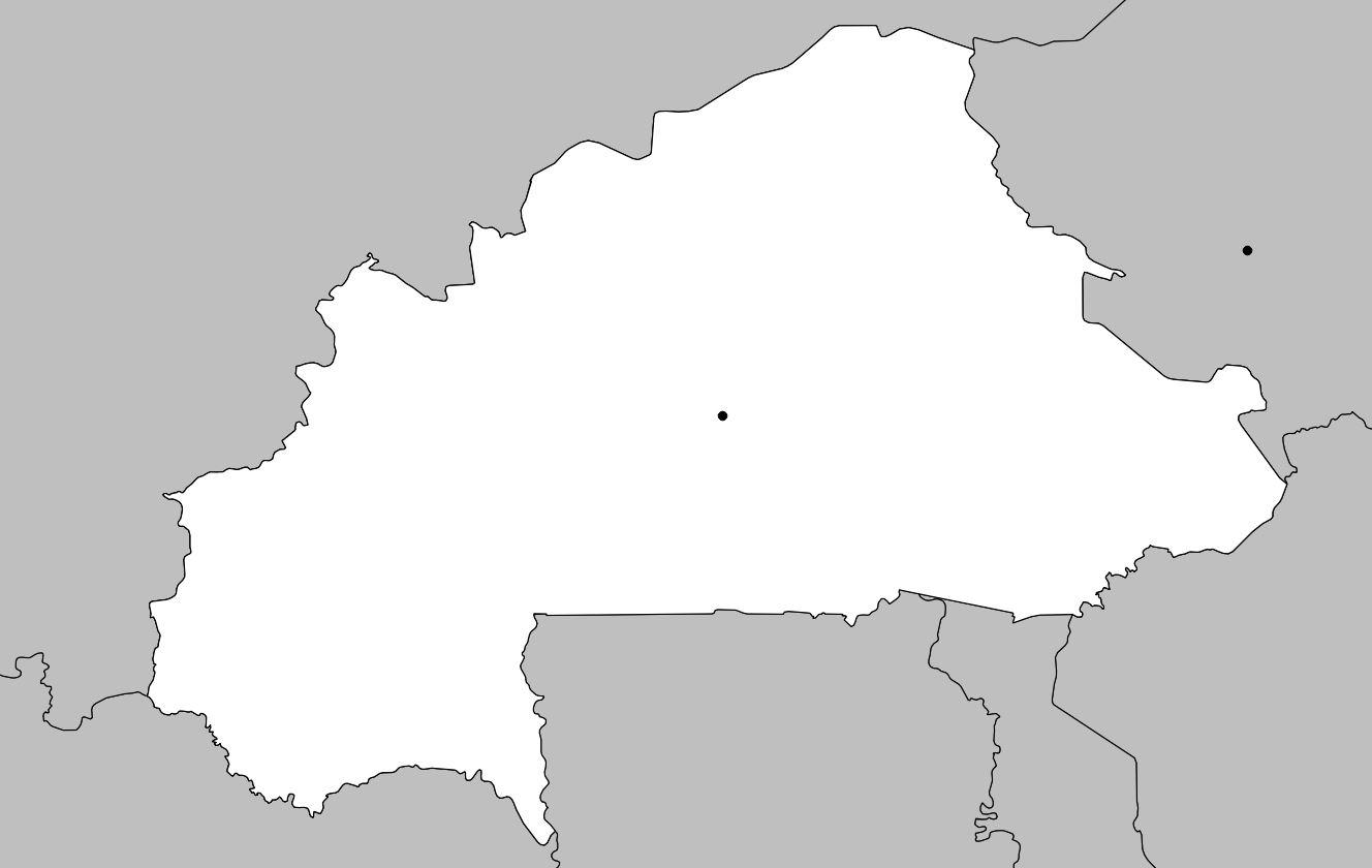 Carte vierge du Burkina Faso