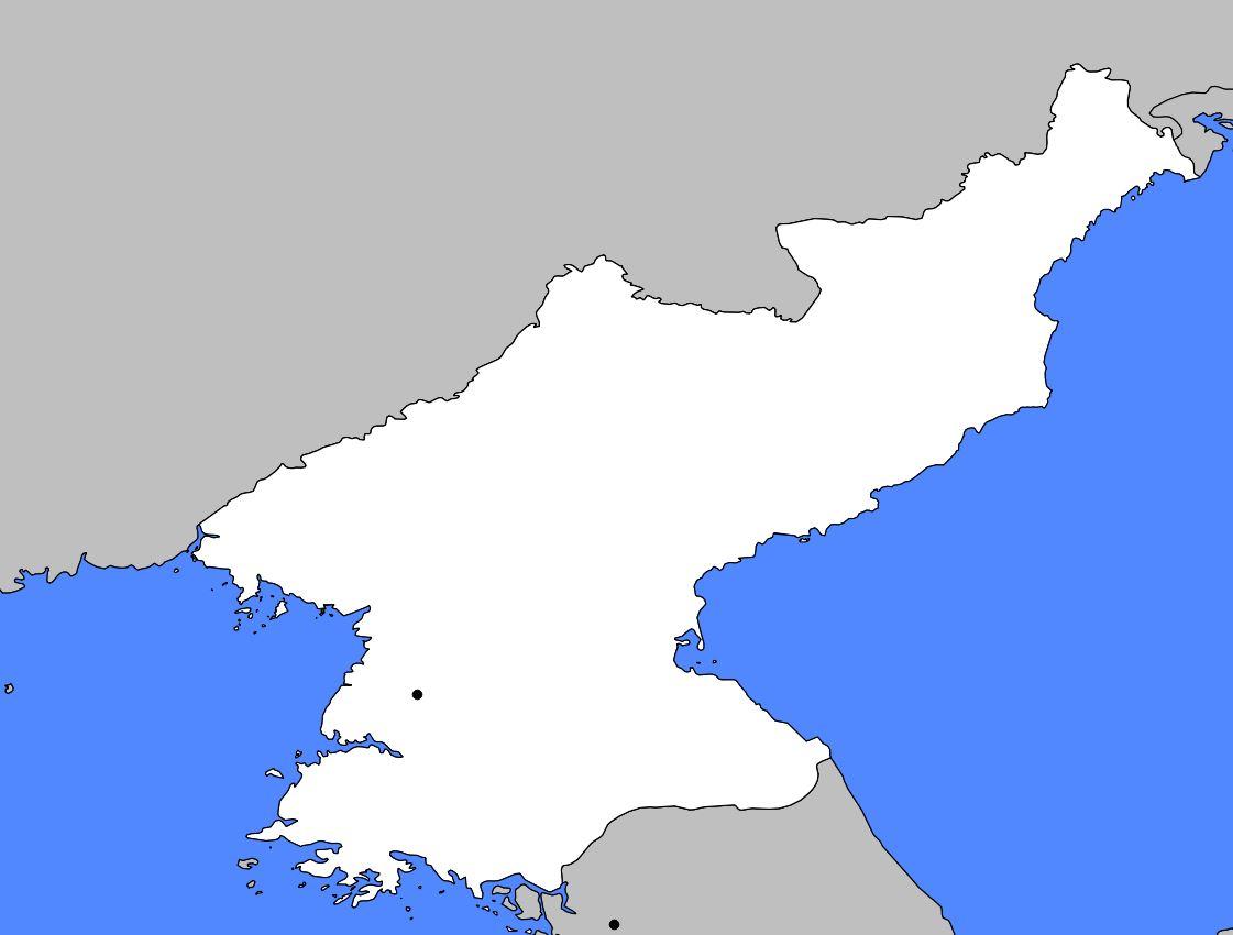 Carte vierge de la Corée du Nord