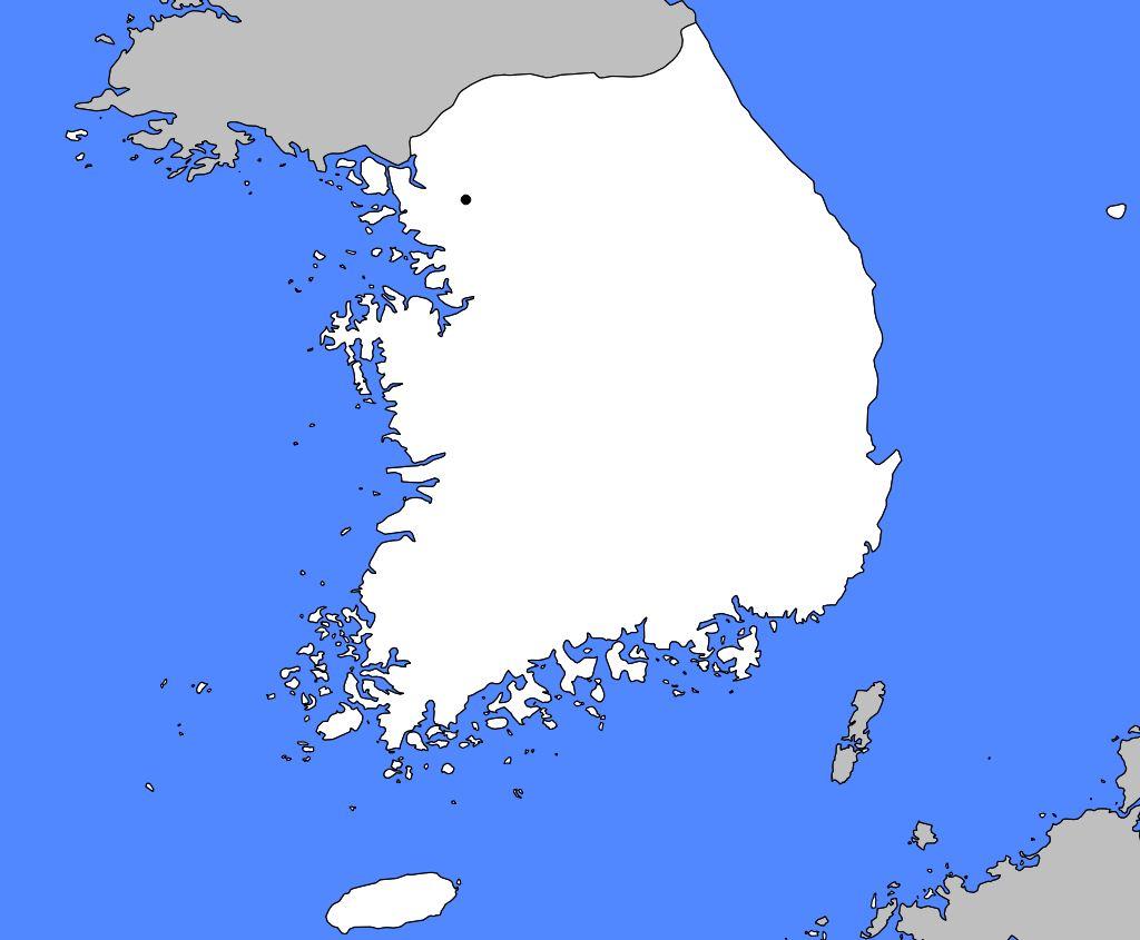 Carte vierge de la Corée du Sud