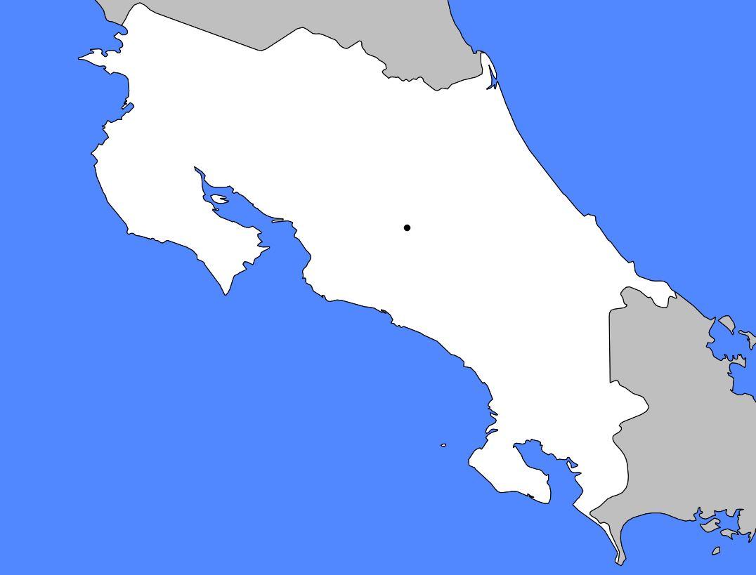 Carte vierge du Costa Rica