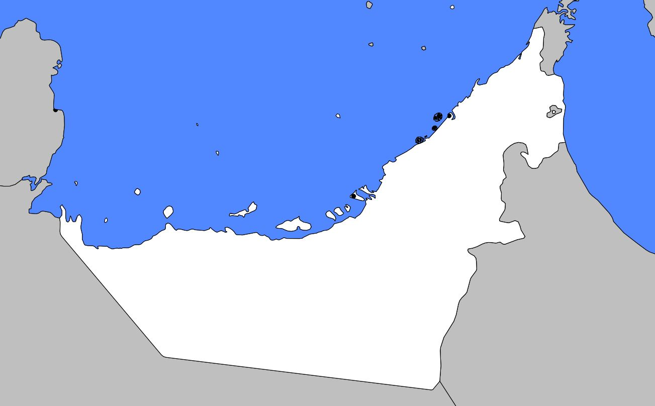 Carte vierge des Emirats arabes unis