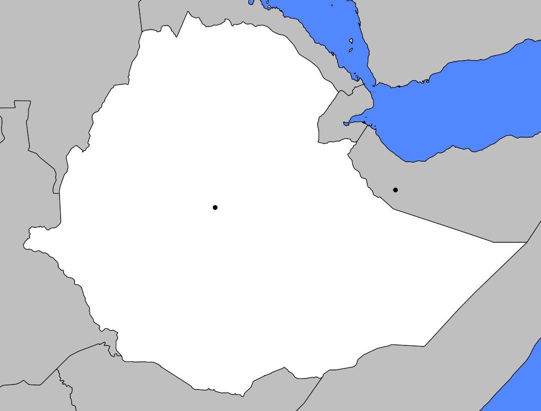 Carte vierge de l'Ethiopie