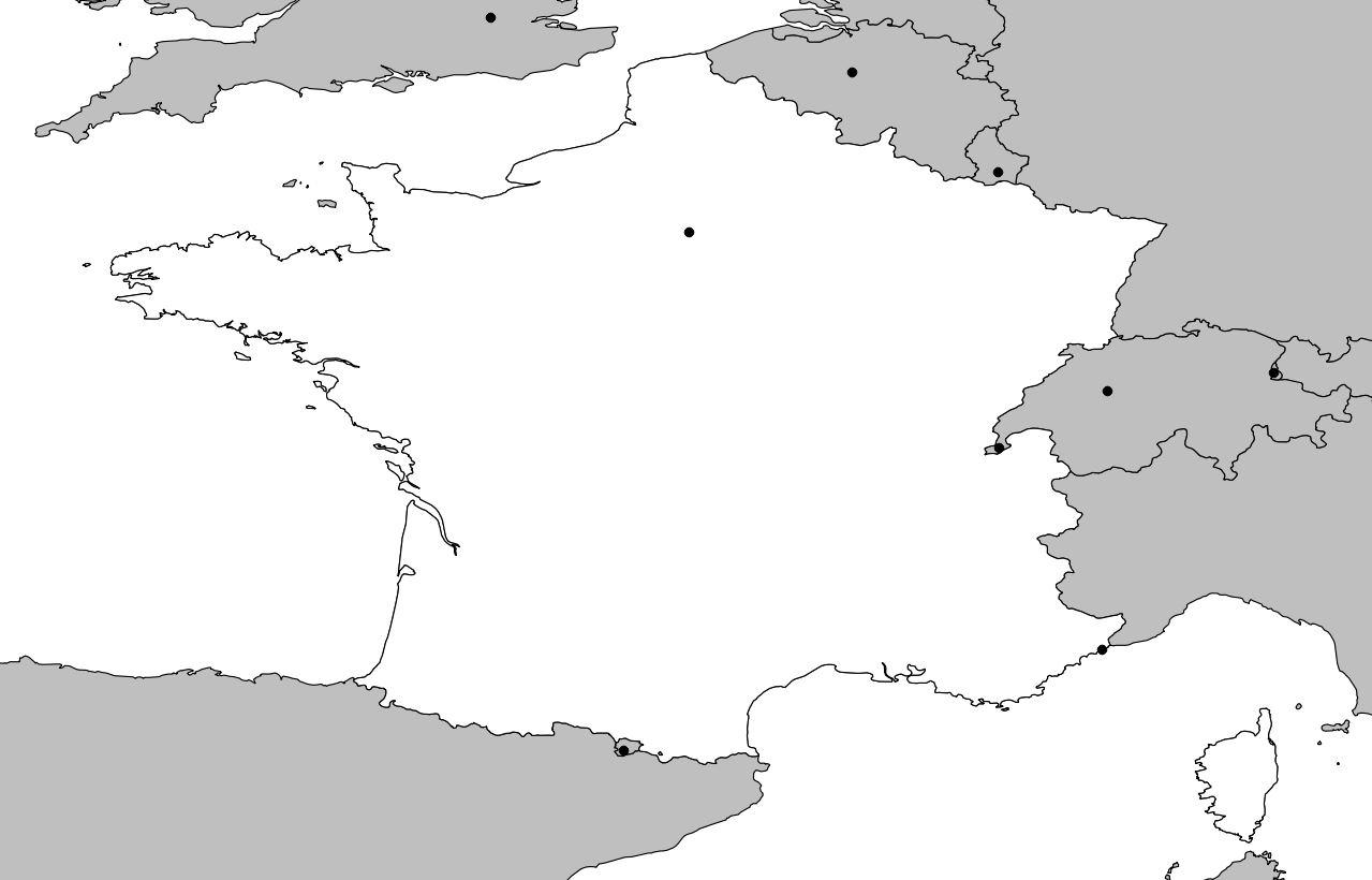 Carte vierge de la France avec DOM-TOM