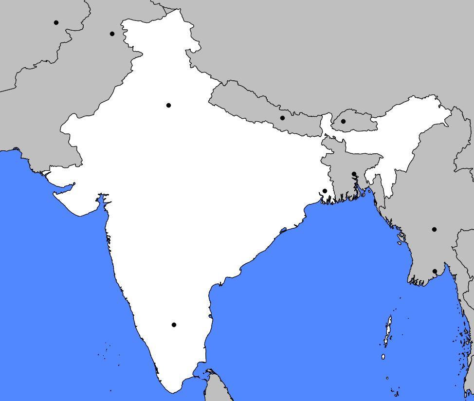 Carte vierge de l'Inde