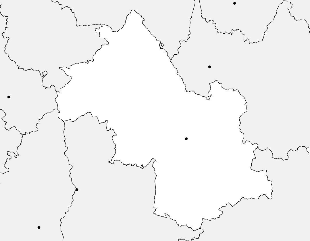 Carte vierge de l'Isère
