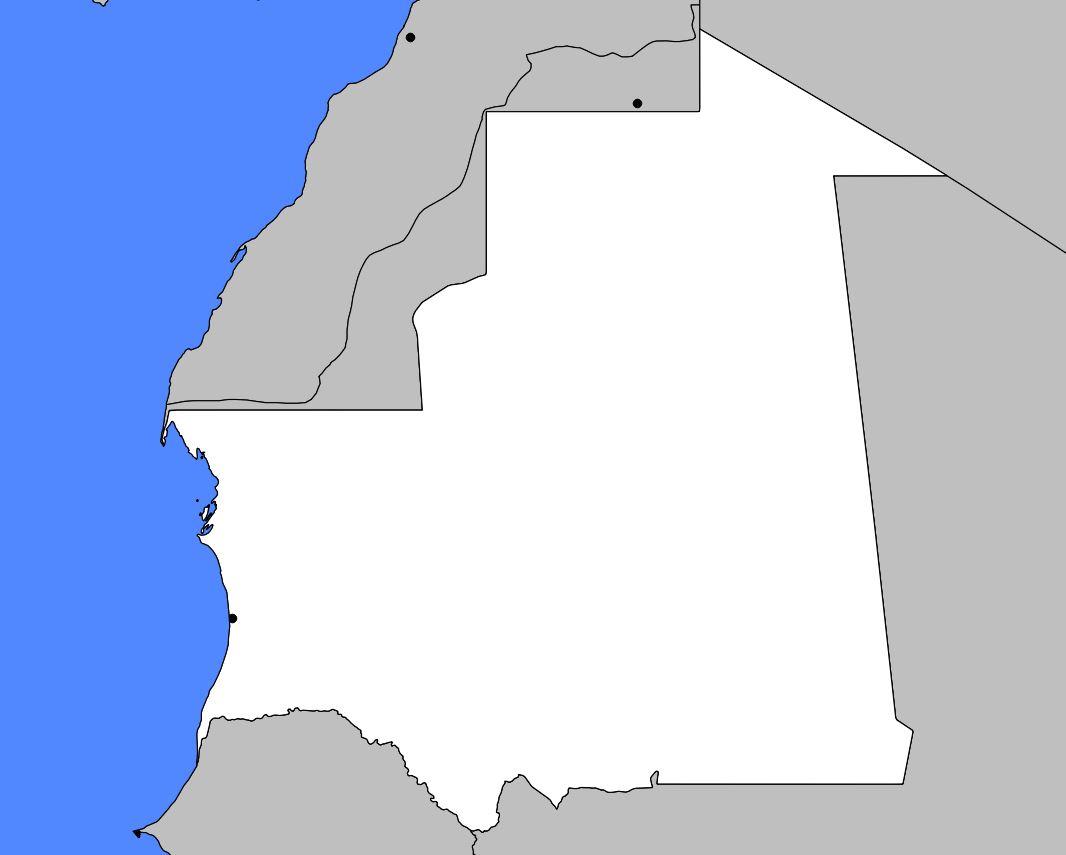 Carte vierge de la Mauritanie
