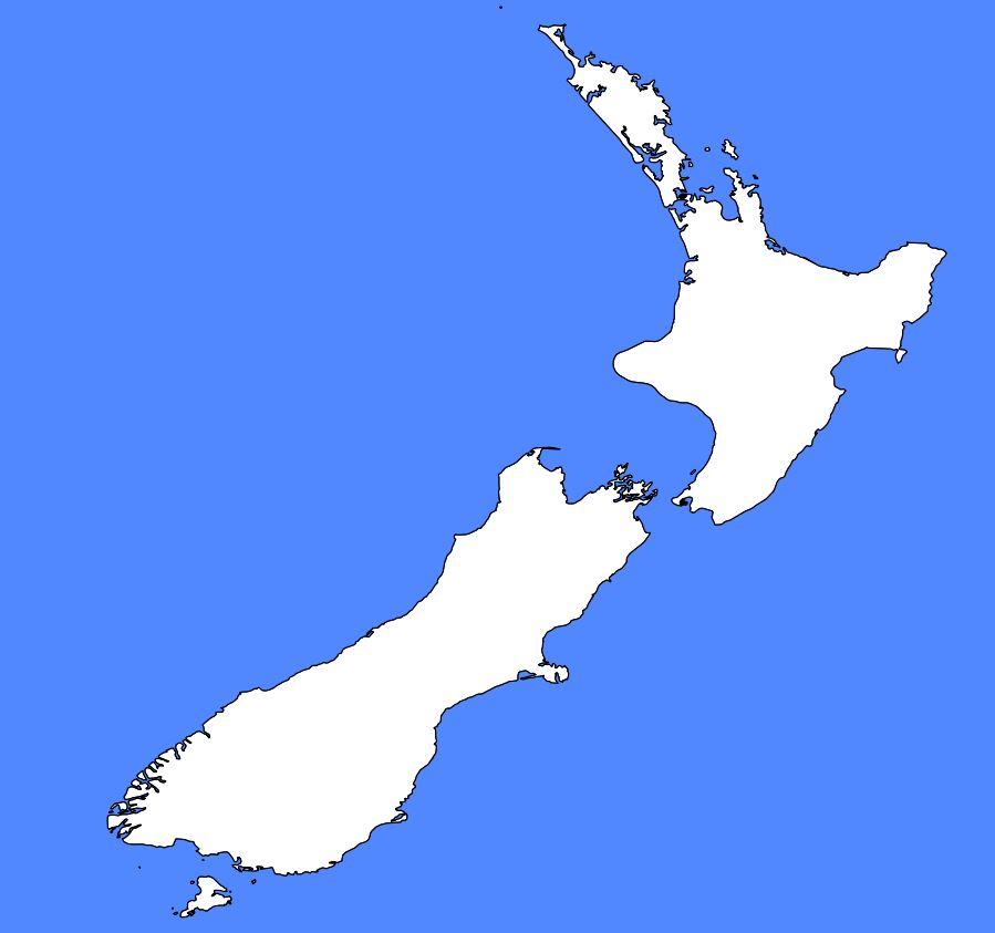 Carte vierge de la Nouvelle-Zélande