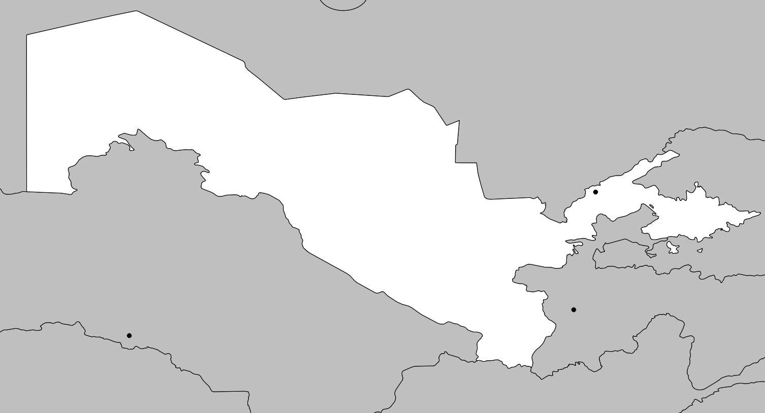 Carte vierge de l'Ouzbékistan