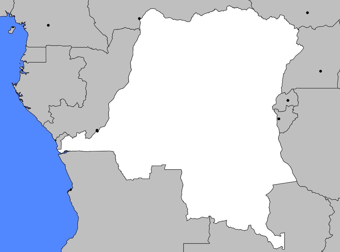 Carte vierge de la République Démocratique du Congo