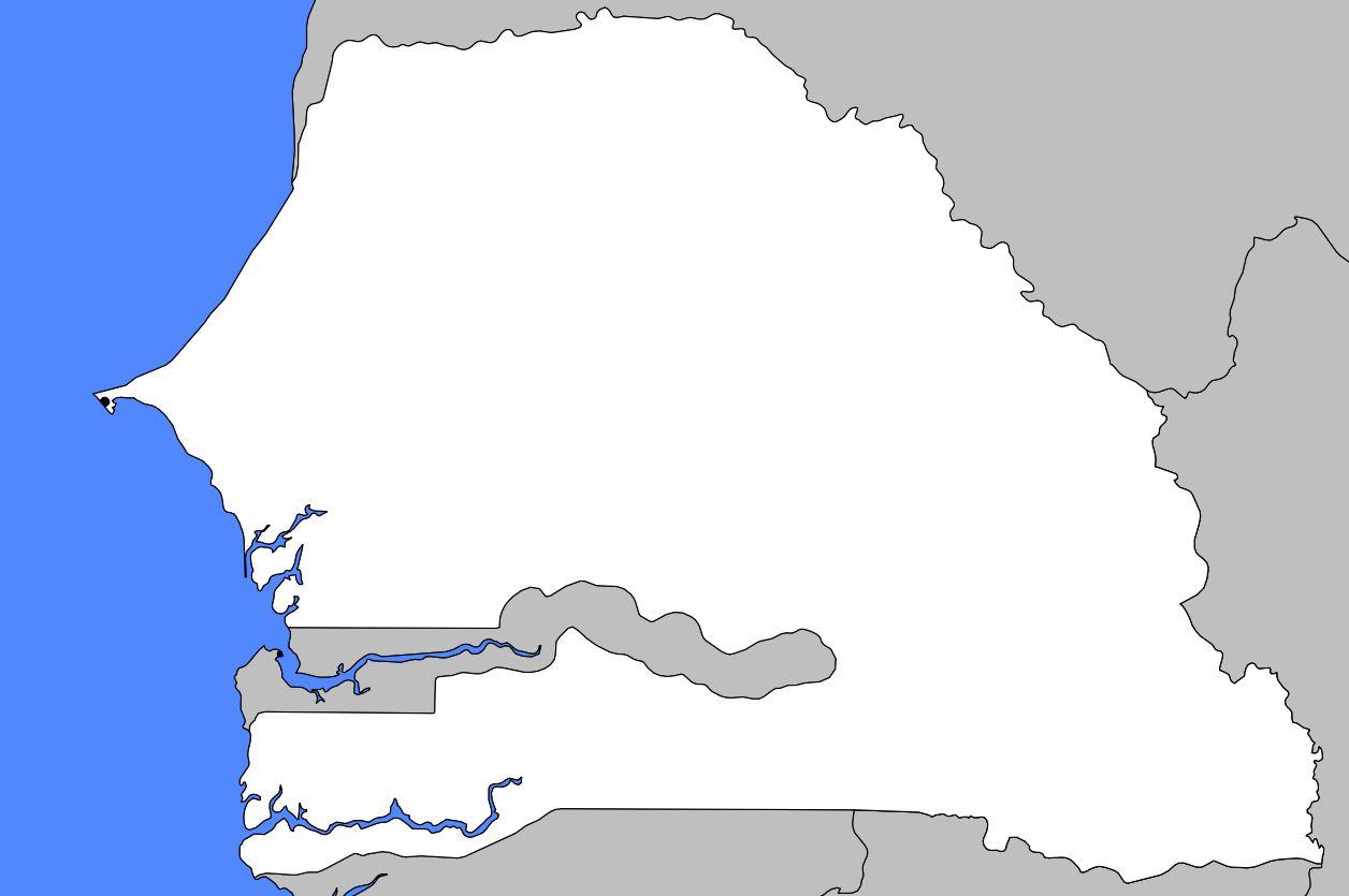 Carte vierge du Sénégal
