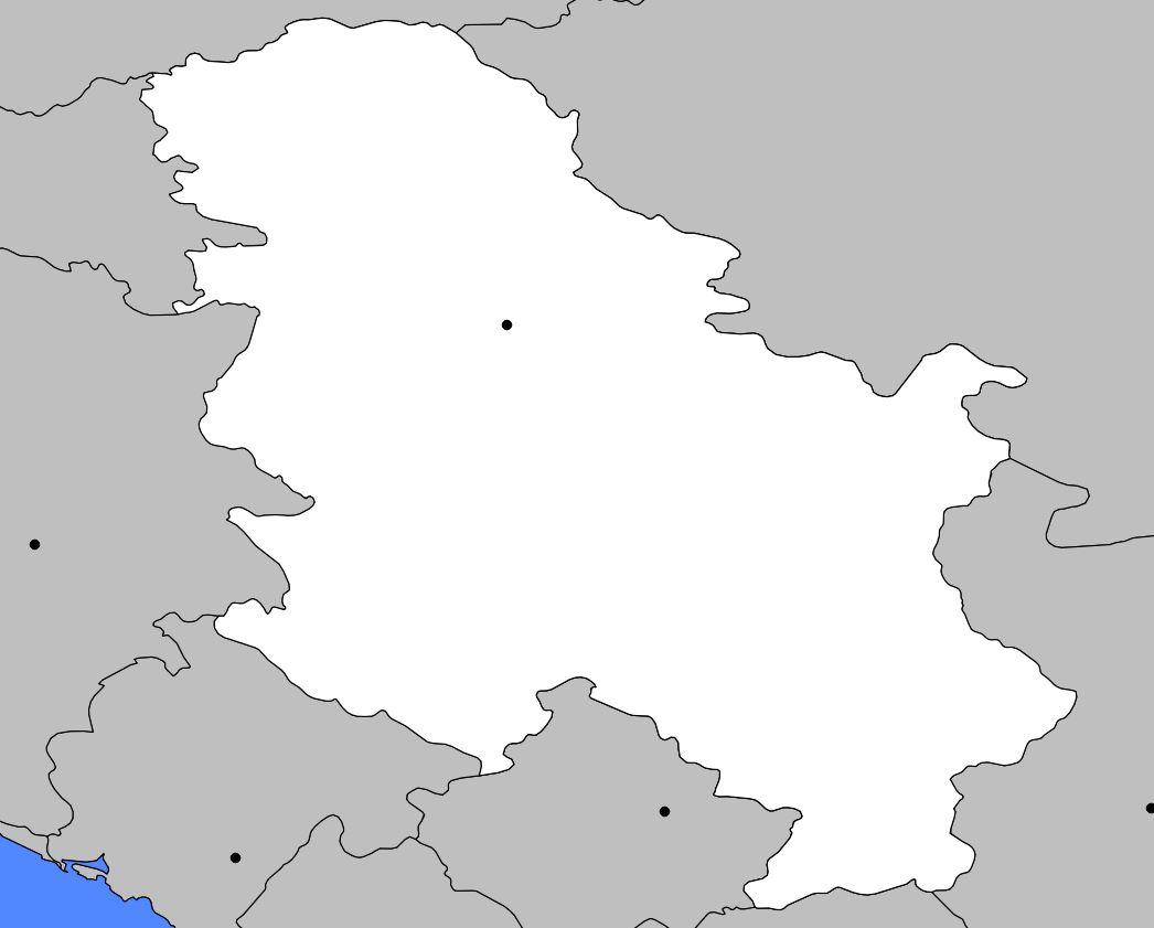 Carte vierge de la Serbie