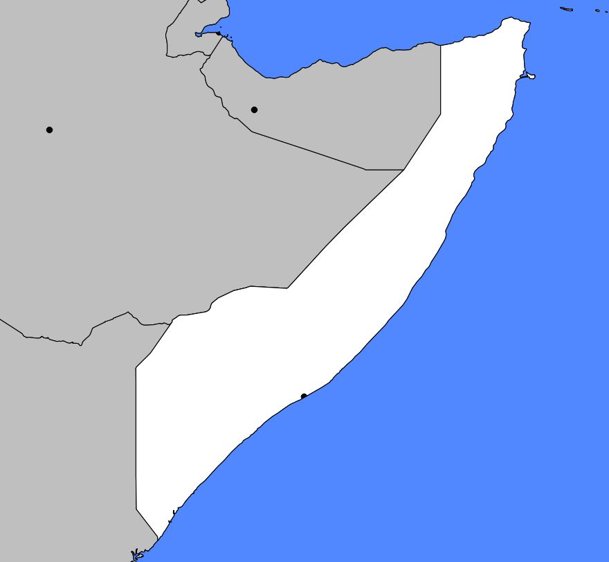 Carte vierge de la Somalie