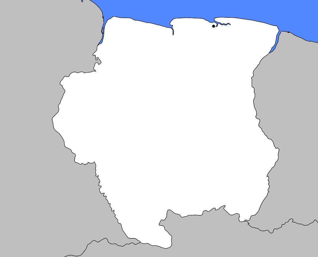 Carte vierge du Surinam