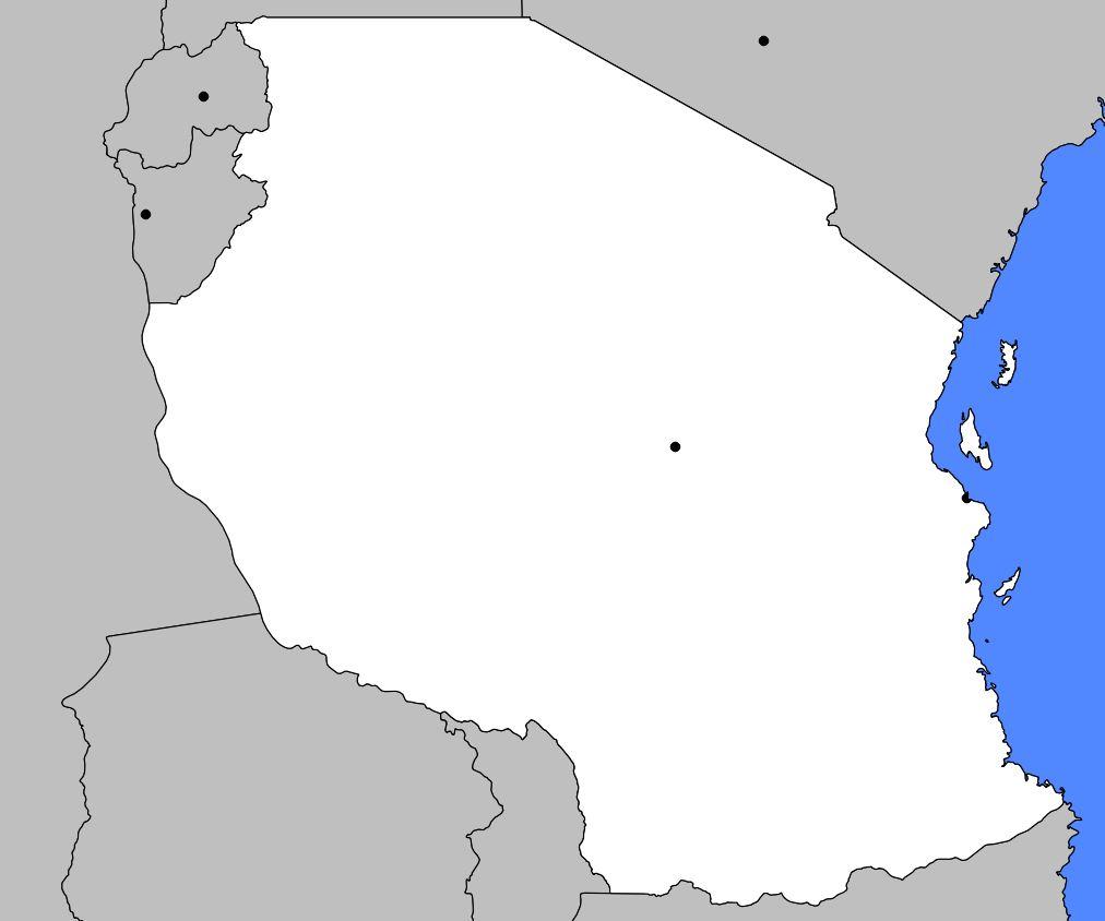 Carte vierge de la Tanzanie