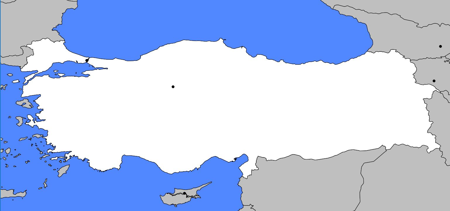 Carte vierge de la Turquie