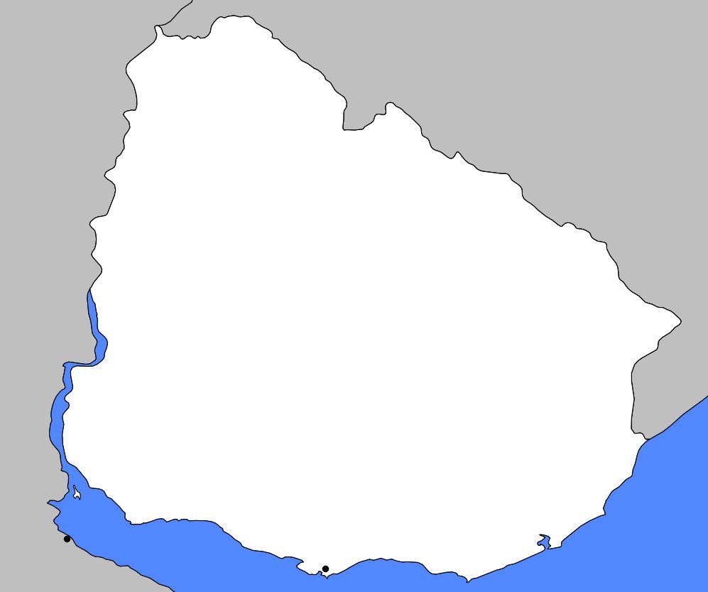 Carte vierge de l'Uruguay