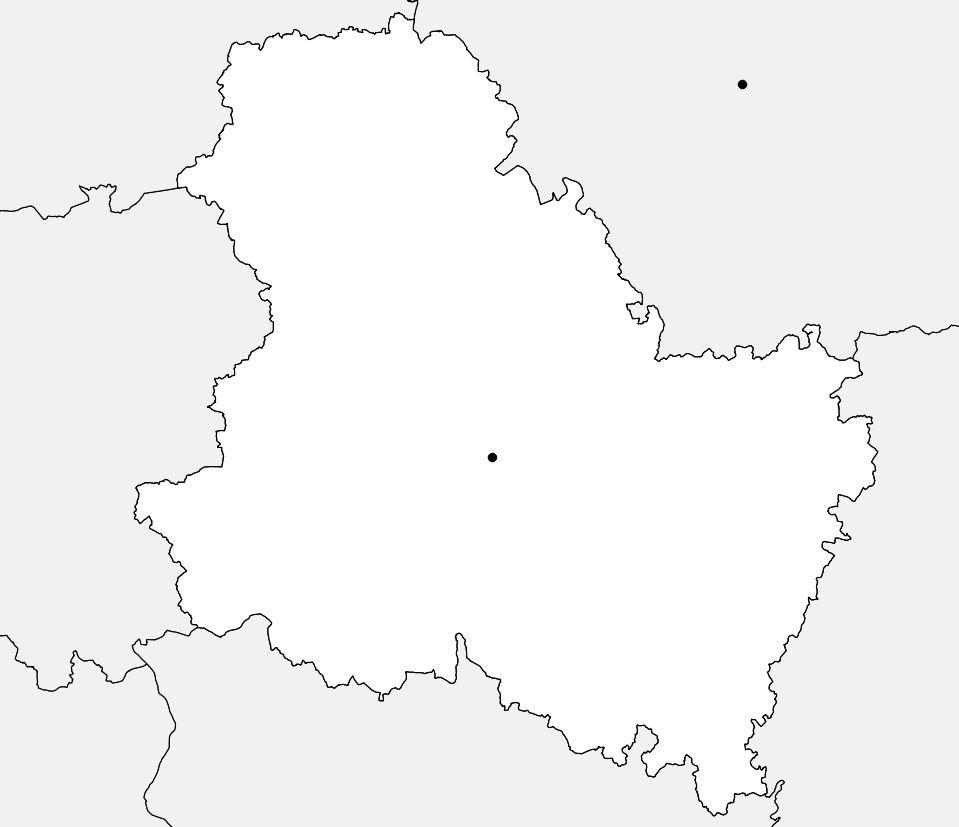 Carte vierge de l'Yonne