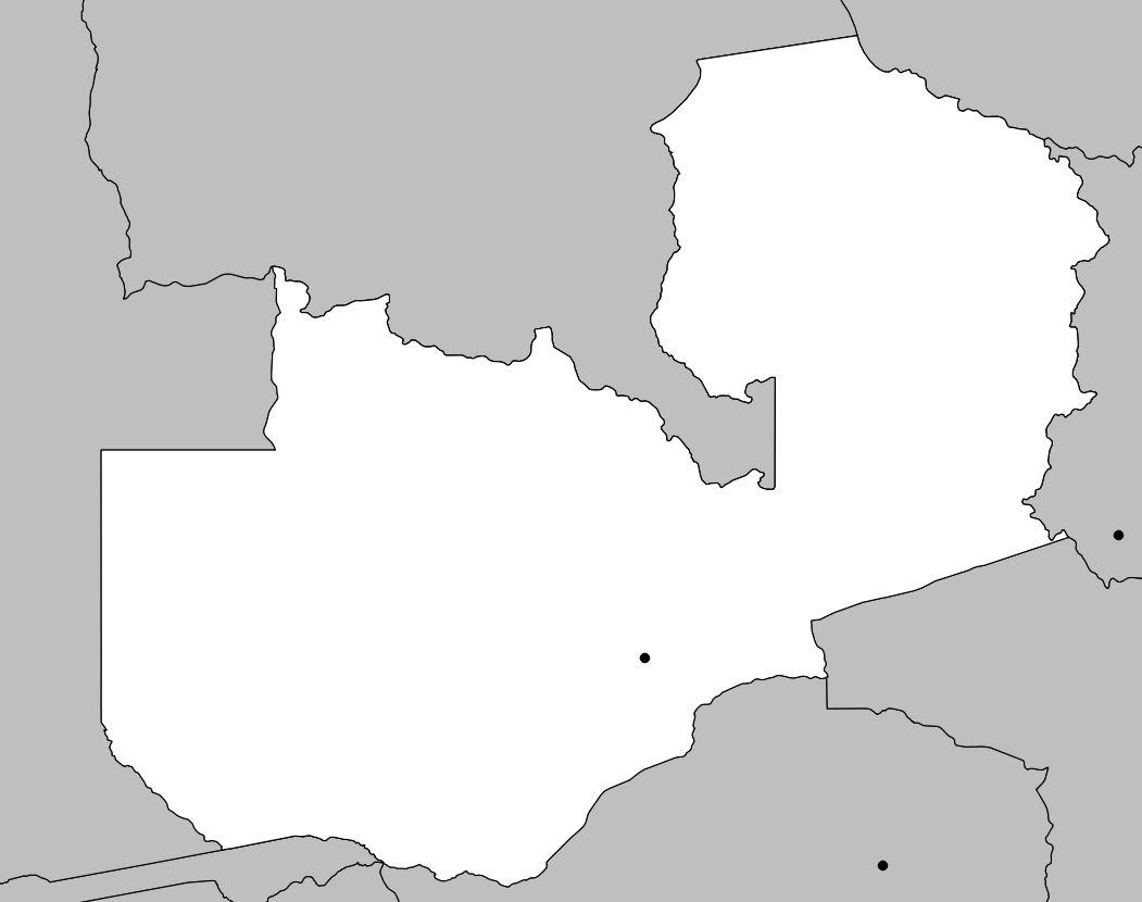 Carte vierge de la Zambie
