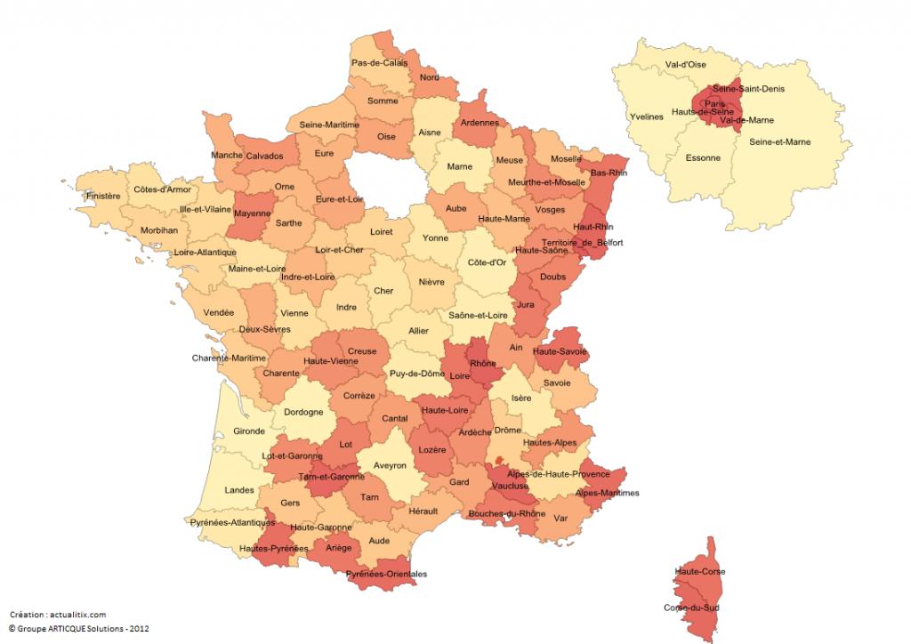 Carte de France métropolitaine avec départements