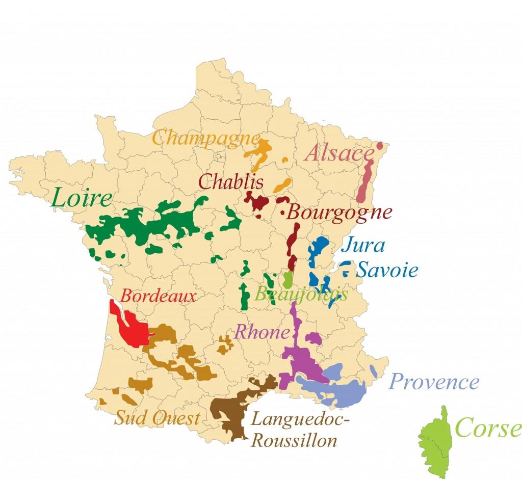 Carte des régions des vins de France - Régions viticoles en France