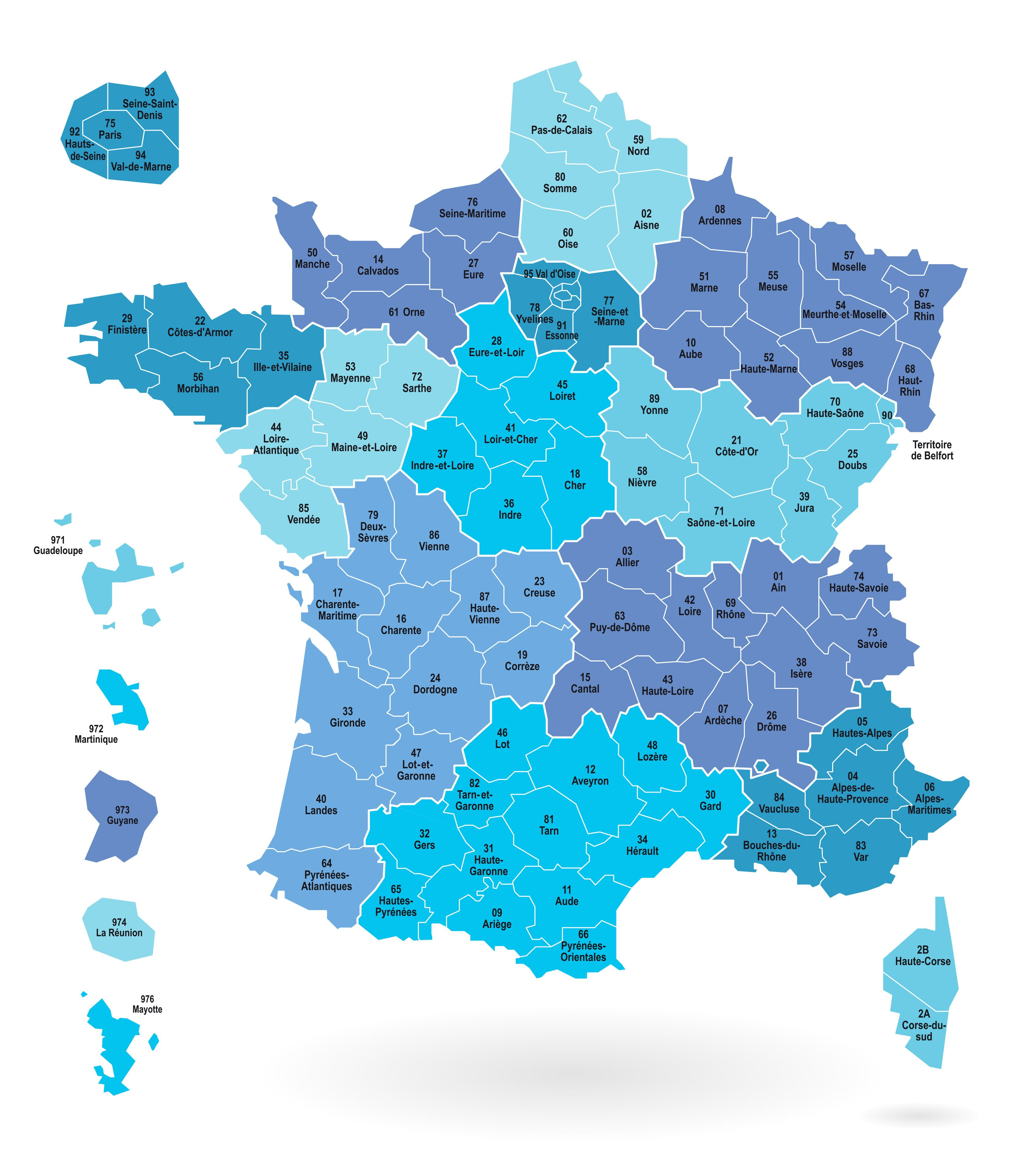 Départements de France métropolitain