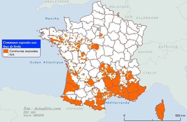 Carte des communes exposées aux feux de forêts
