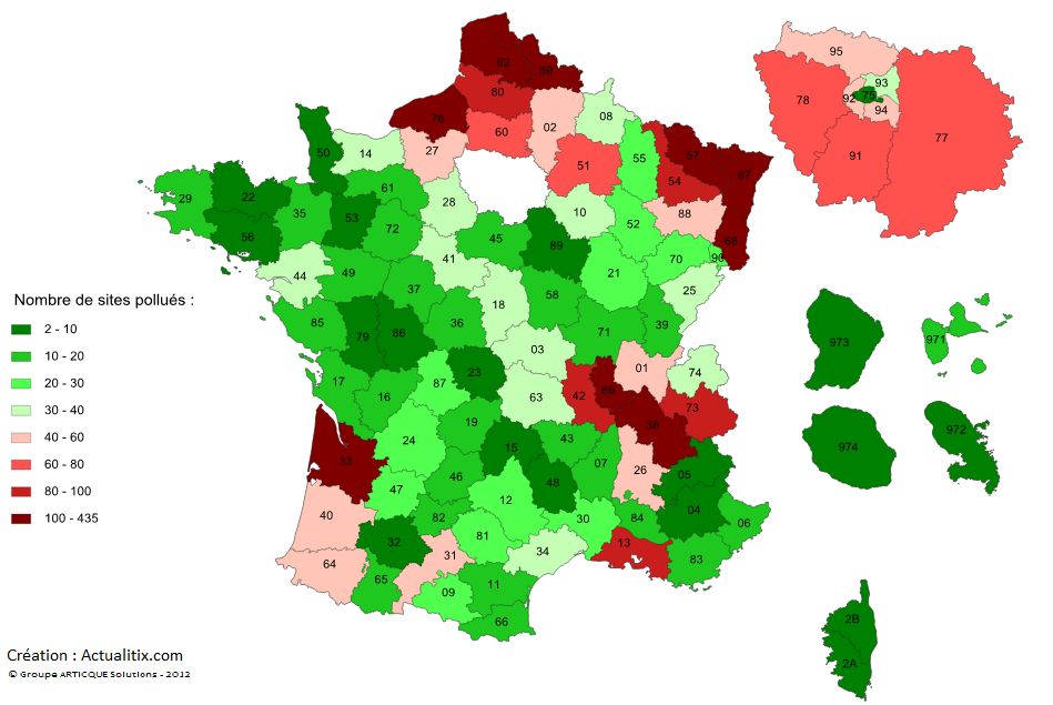 Carte de la pollution par département