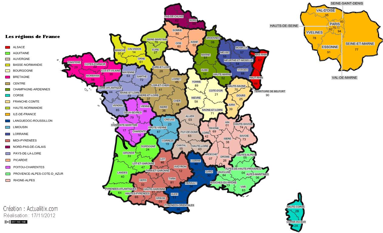 Carte administrative des régions de France