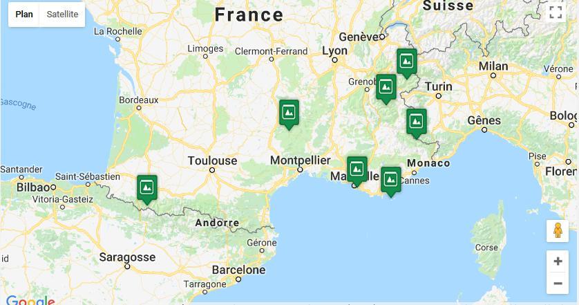 Carte des parc nationaux en France Métropolitaine