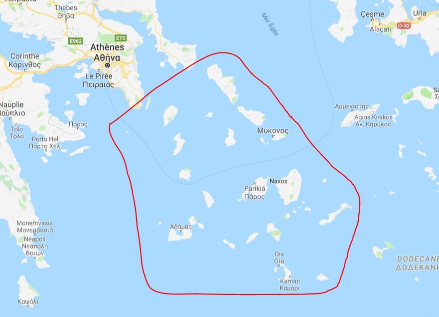 Cartes de Cyclades en Grèce - Cartes et tourisme en Grèce
