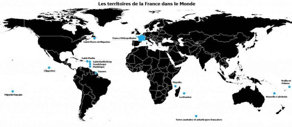 Carte des territoires de la France dans le monde   France Dom et Tom