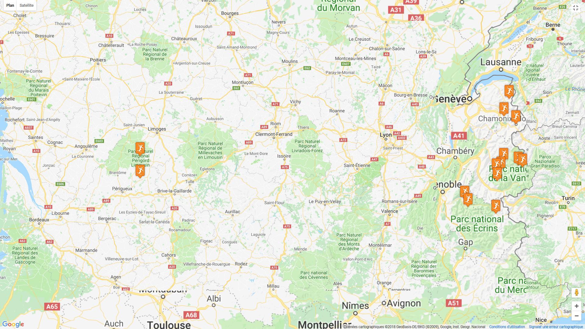 Carte des stations de ski les plus fréquentées en France