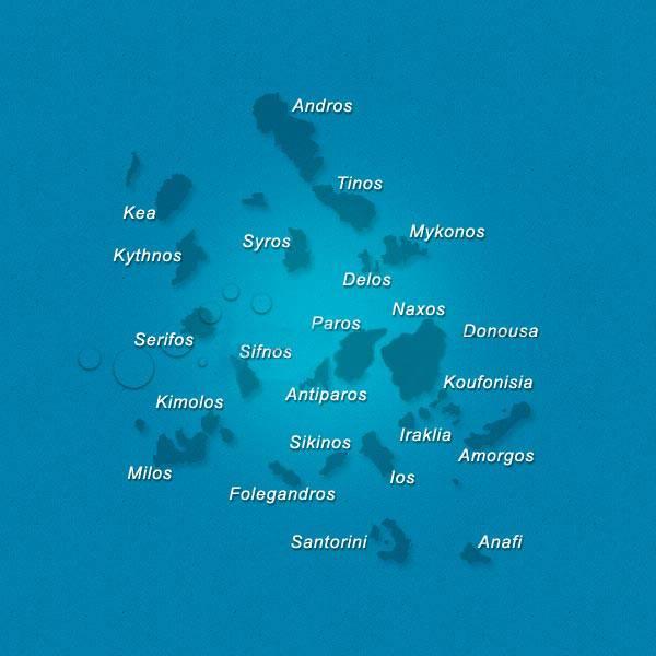 Carte des Cyclades - Nom des îles