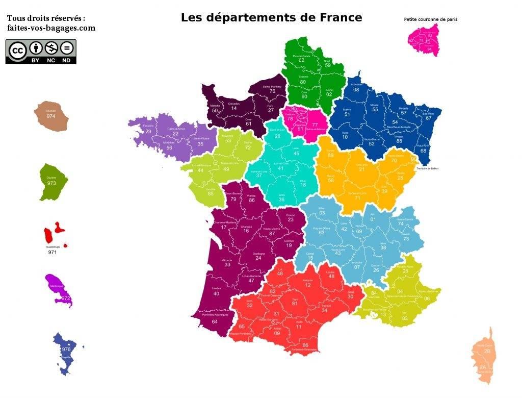 Carte des départements de France métropolitaine et d'Outre-mer